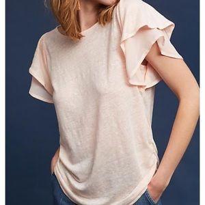 Eri + Ali chiffon linen ruffle sleeve pink tee S